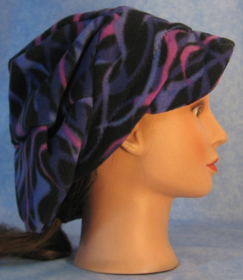 Newsboy Hat in Purple Waves-Adult M