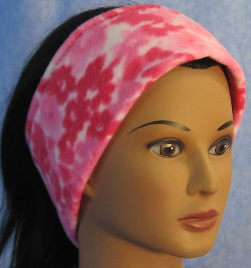 Ear Warmer in Pink Flower-Adult S