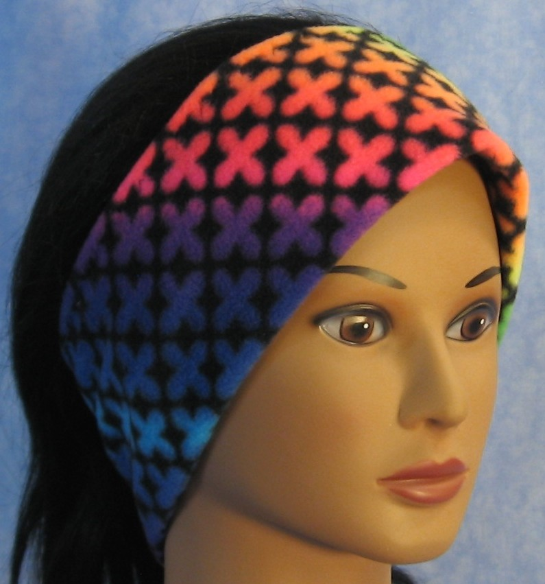 Ear Warmer in Rainbow Crosses-Adult S
