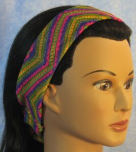 Headband in Pink and Green V's Knit