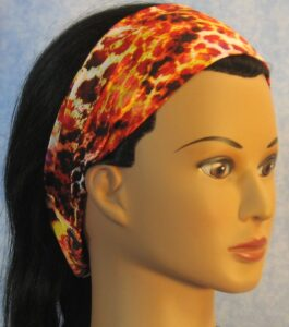 Headband in Yellow, Orange and Black Speckled Knit