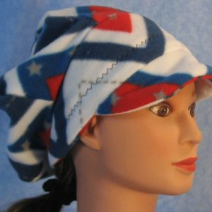 Slouchy Newsboy Hat in Red White Blue V's - right