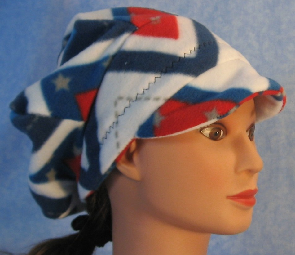 Newsboy Hat in Red White Blue V's-Adult S
