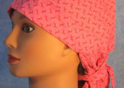 Hair Stocking in Pink Pinwheel with Flower Tail - side
