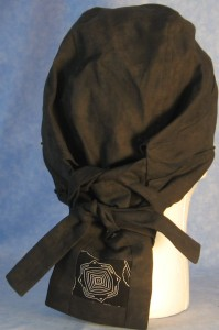 Hair Bag in Smoky Black with Geometric Tail - back