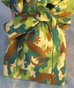 Hair Bag in Lizards in Brown Green Teal Colors - tail