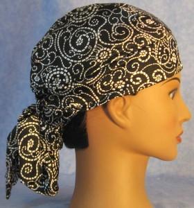 Hair Stocking in White Black Paisley - side