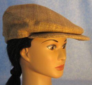 Flat Cap in Brown Plaid Flannel - side