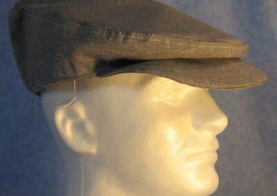 Flat Cap in Navy White Blended - side