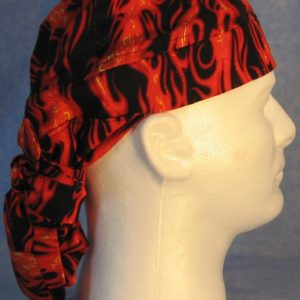 Hair Bag in Red Orange Flames - side