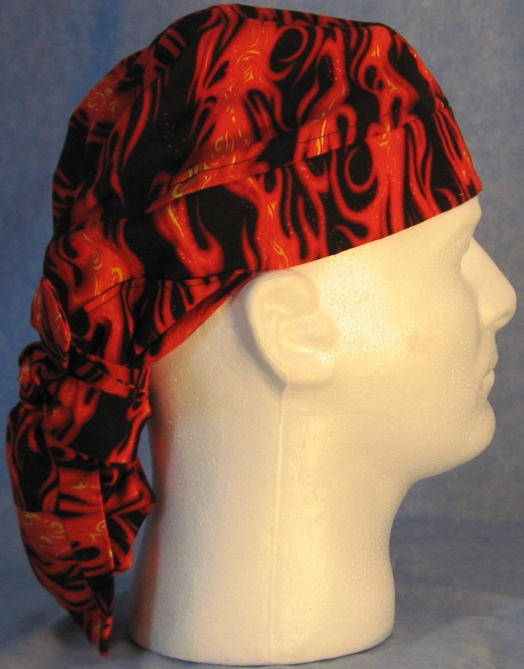 Hair Bag Do Rag in Red Orange Flames - Adult 1XL-3XL