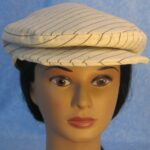 Flat Cap in Tan with Black Stripe - front