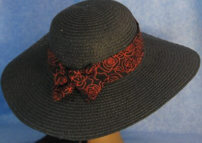 Wide Brim Hat Band-Orange Line Roses on Black