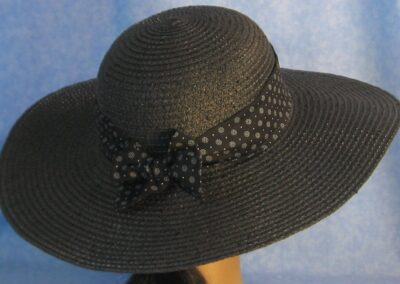 Wide Brim Hat Band-Black with White Dotted Polka Dots
