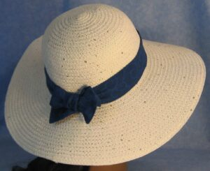Wide Brim Hat Band-Blue on Blue Swirls