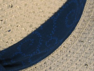 Wide Brim Hat Band-Blue on Blue Swirls-closeup