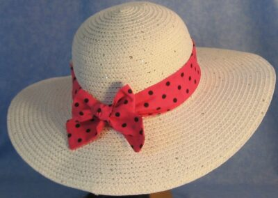 Wide Brim Hat Band-Pink with Black Polka Dots
