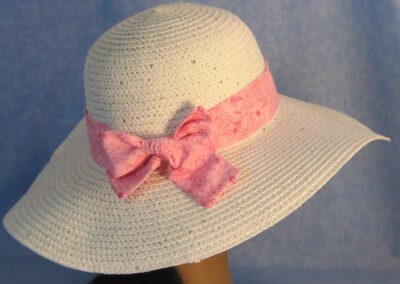Wide Brim Hat Band-Pink with Pink Line Flowers