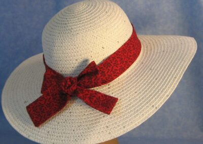 Wide Brim Hat Band-Red with Black Line Roses