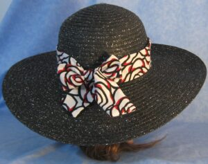 Wide Brim Hat Band-Red White Black Roses
