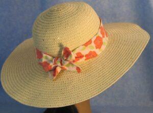 Wide Brim Hat Band-Roses Light Green Leaves
