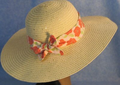 Wide Brim Hat Band-Roses Light Green Leaves