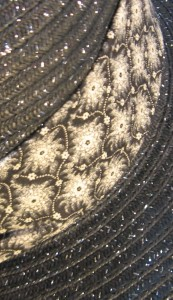 Wide Brim Hat Band-Snowflakes-closeup