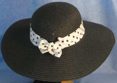 Wide Brim Hat Band-White with Black Polka Dots