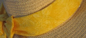 Wide Brim Hat Band-Yellow Dragonflies-closeup