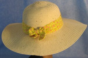 Wide Brim Hat Band-Yellow Pink Flowers