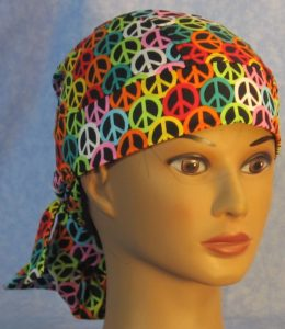 Hair Stocking in Black Rainbow Peace - front