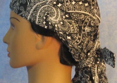 Hair Stocking in Black White Paisley - side