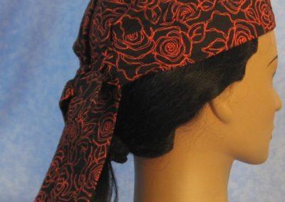 Do Rag in Black with Orange Line Roses