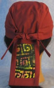 Do Rag in Burgundy with Batik Tail - back