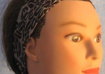 Headband in Brown Cream Flowers Burnout - closeup