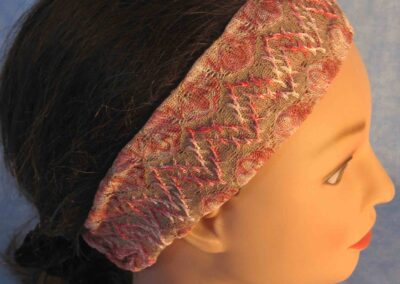 Headband in Pink Tan Lace - side closeup