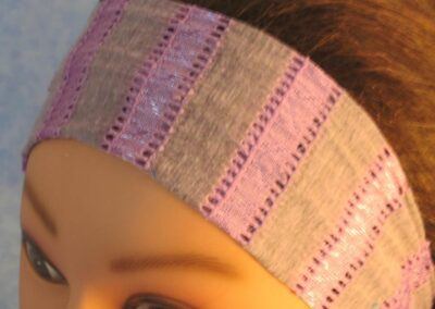 Headband in Gray Purple Open Stripe - closeup