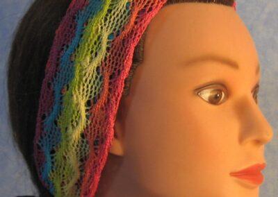 Headband in Yellow Aqua Scallop Net