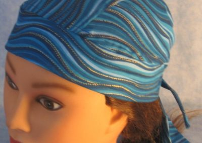 Do Rag in Blue Waves Gold Dots - left front