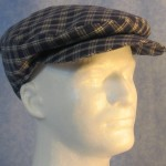 Flat Cap in Blue Cream Plaid Homespun - Male front