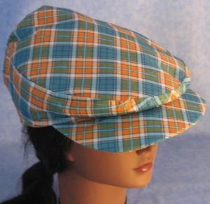 Flat Cap in Turquoise Orange Plaid - Female top