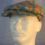 Flat Cap in Turquoise Orange Plaid - Male front