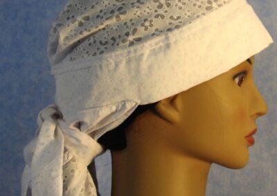 Hair Stocking in White Open Flower - side