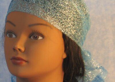 Head Wrap in Aqua Glitter Net - front