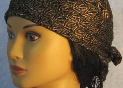 Head Wrap in Black Gold Vs - front