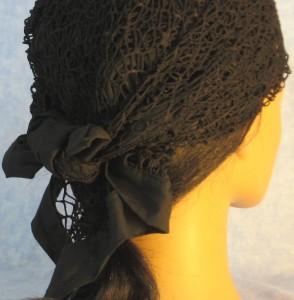 Head Wrap in Black Mesh Net - back