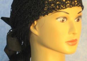 Head Wrap in Black Mesh Net - front closeup