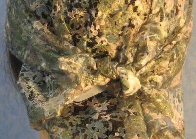 Head Wrap in Green Flower Lace - back