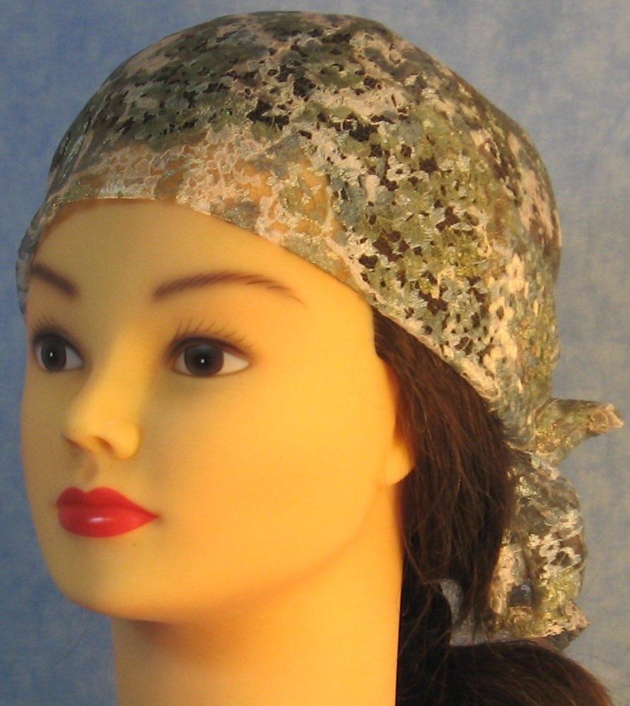 Head Wrap in Green Flower Lace - front