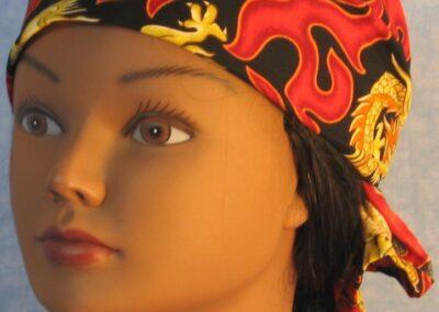 Head Wrap in Oriental Dragon Flames - front